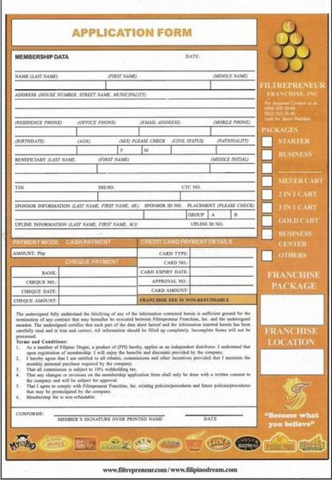Application form filtrepreneur franchise inc - Design your own home application ...